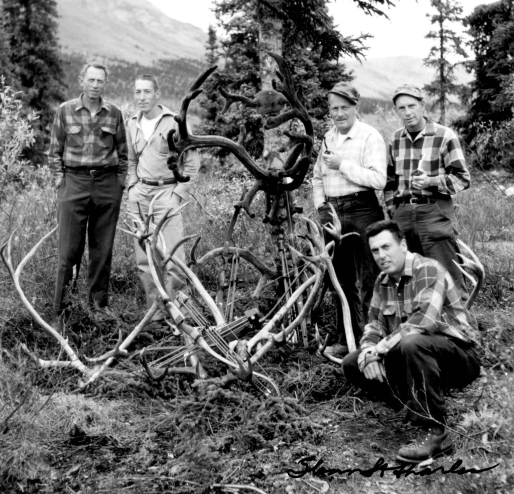 From the 1940s through the 1960s, principals and members of the Pope & Young club, such as Fred Bear (far left) and Glenn St. Charles (kneeling), hunted throughout North America to prove to the world that bowhunting was a lethal and ethical means of harvesting large game animals, and that bowhunting provided a much-needed conservation element to developing game management policies.